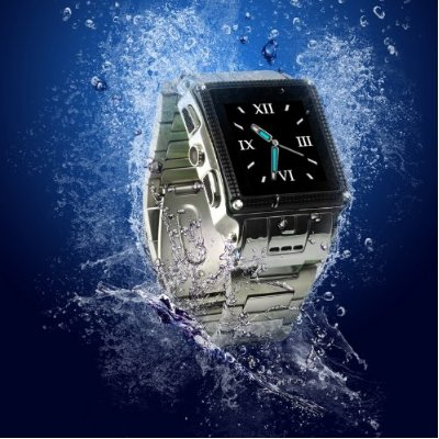Water Proof Stainless Steel Quad Band Unlocked Watch Mobile Phone