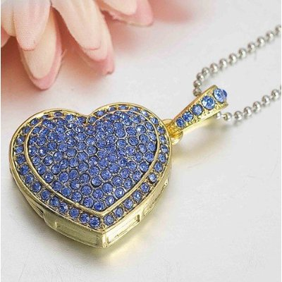 8GB Lovely Blue Crystal Heart Style USB Flash Drive with Necklace