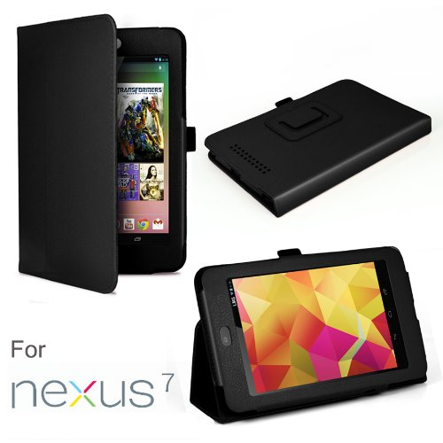 Leather Folio Case for Google Nexus 7 Android Tablet by Asus With 3-in-1 Built-in Stand