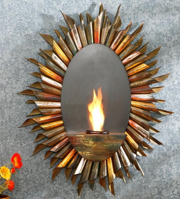 Spiral Sunburst Wall Mount Gel Fuel Sconce