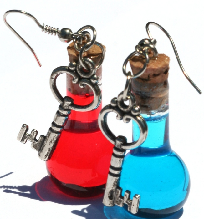 Health and Mana Video Game Inspired Earrings with Key Charms