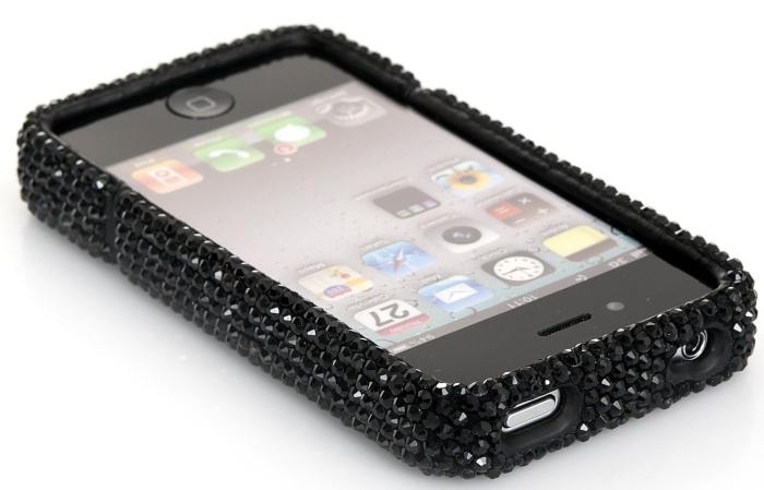 Luxury Black Crystal Bling Rhinestone Slider Full Cover Case for AT&T Verizon Sprint iPhone 4 4S
