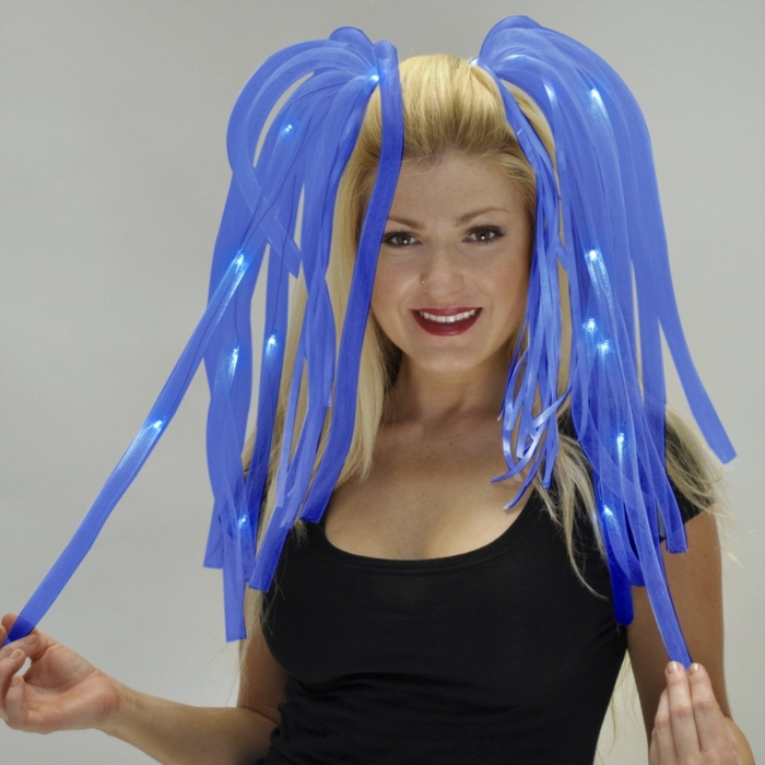 Blue Noodle Headband with Blue Ribbons