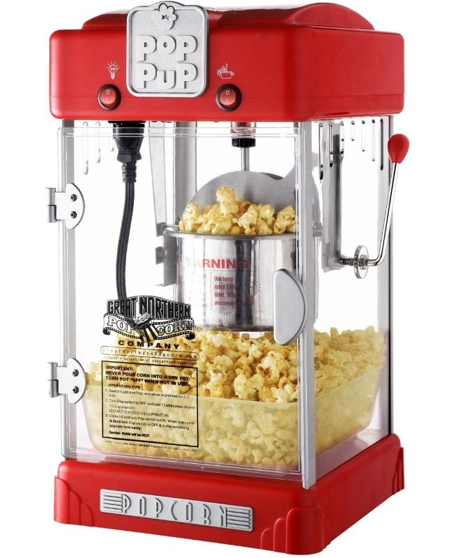 Popcorn Pop Pup 2-1/2oz Table Top Retro Style Popcorn Popper