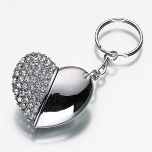 High Quality 32 GB heart Shape Crystal Jewelry USB Flash Memory Drive Keychain
