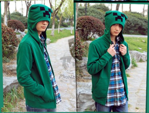 minecraft monster rave 3d Creeper Cosplay costume hoodie