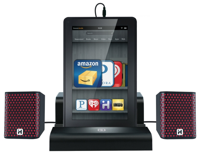 iHome iK8B SMARTDESIGN Rechargeable Portable Speakers with Travel Case/Stand for Kindle Fire