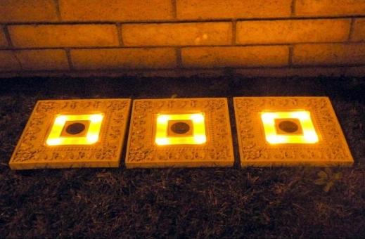 Homebrite 33839-3 Homebrite Set of 3 Solar Power Square White Wash Stepping Stones