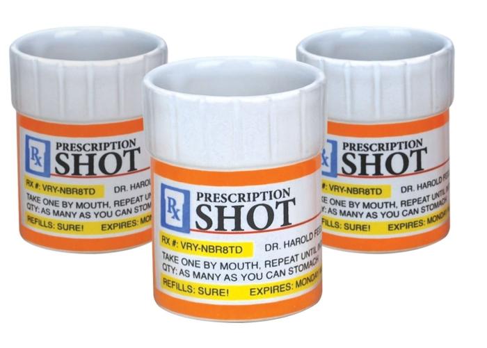 Prescription Pill Bottle Shaped Shot Glass Set