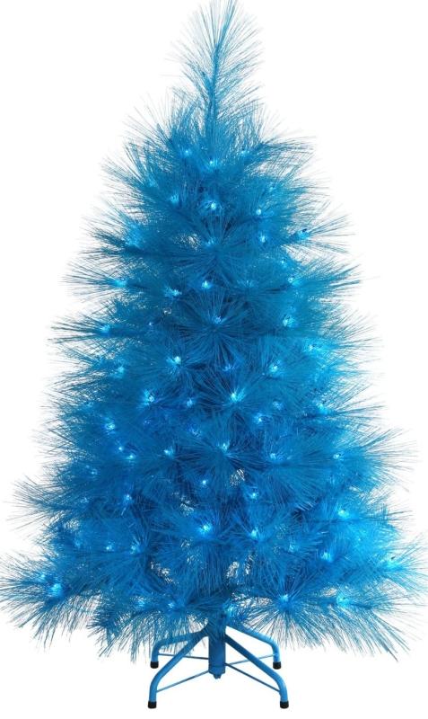 4' Pre-Lit Sky Blue Feather Cashmere Pine Artificial Christmas Tree