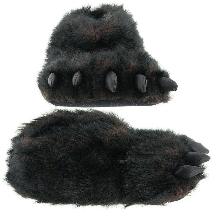 Fuzzy Black Bear Paw Slippers