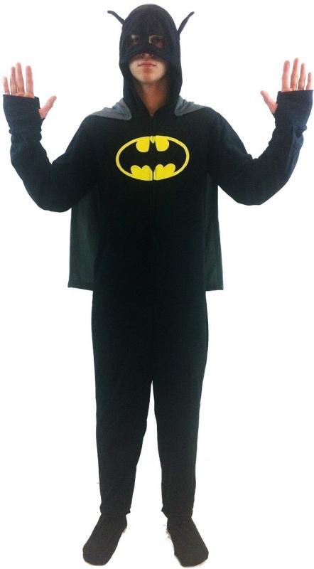 Batman 1 piece Footed Onsie Adult Black Pajama with Cape