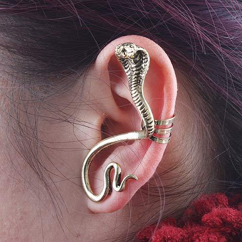 Temptation Cobra Snake (Gold) Bite Ear Cuff Alchemy Gothic Stud