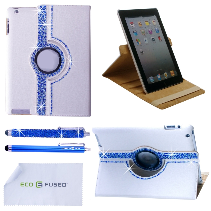 ECO-FUSED Bling 360 Rotating iPad 3 White Leather Case