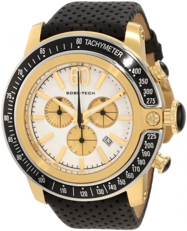 Glam Rock Men's GR33108 SoBe Chronograph White Dial Black Leather Watch