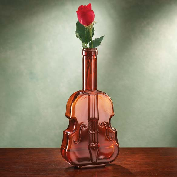 Amber Glass Violin Vase
