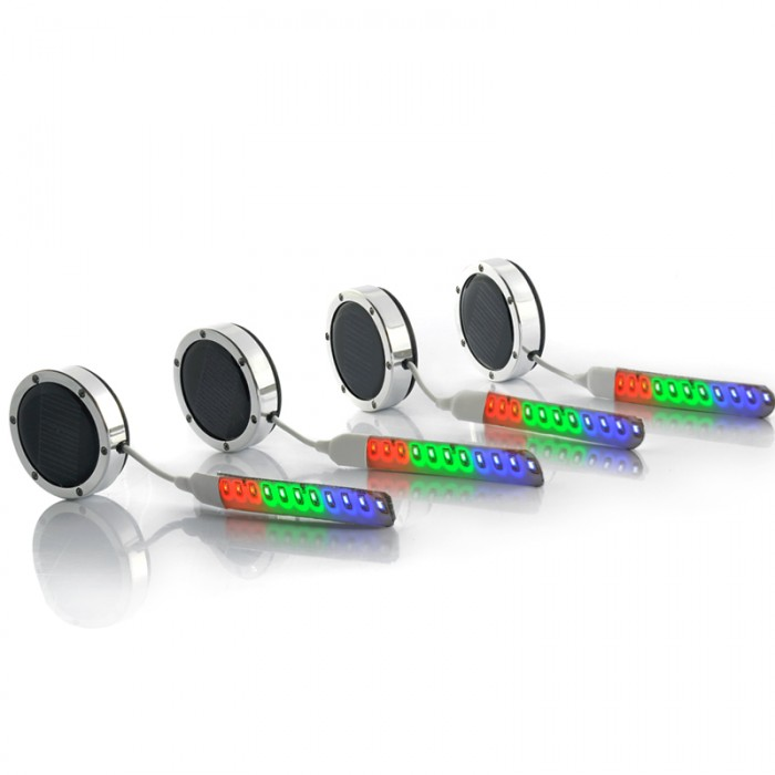 4x LED Car Wheel Lights - Multi-Color, Solar + Battery Powered