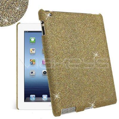 Gold Fine Sparkle Glitter Back Cover Case for Apple New iPad / iPad 3 / iPad 2