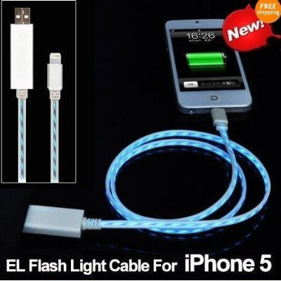 New 8-Pin - Flash Glow Lightning USB Data / Sync Charging Cable