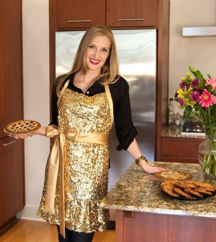 """""""Glamour Girl"""" Gold Sequin Apron"""