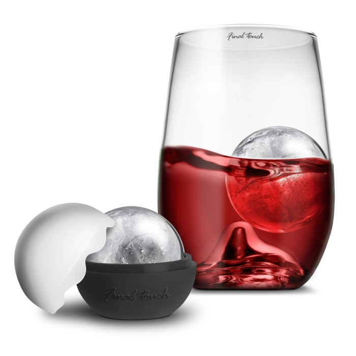 Final Touch Grand Rock Highball Glass Set with Silicone Ice Ball Mold