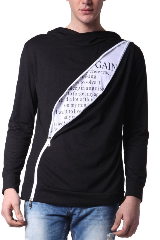Mens Casual Unbalanced Zip-Up Hoodie