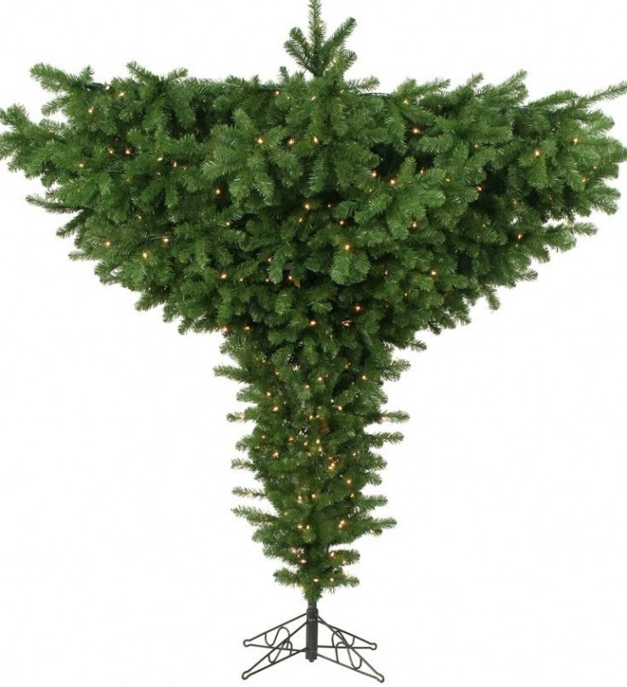 9' Pre-Lit Forest Green Spruce Artificial Upside Down Christmas Tree
