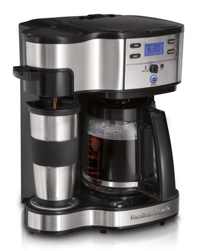 Beach Two Way Brewer Single Serve and 12-cup Coffee Maker