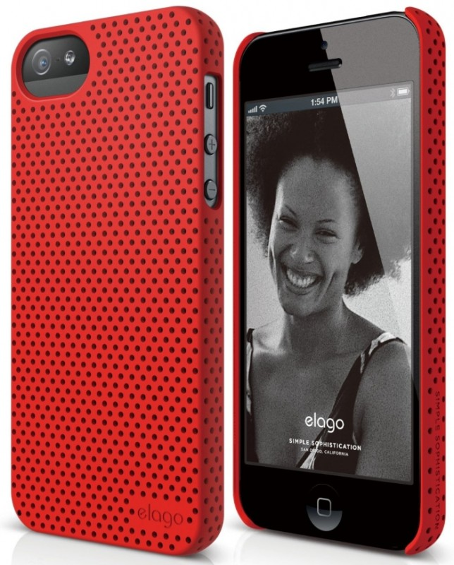 elago S5 Breathe Case for iPhone 5 - eco friendly Retail Packaging - Soft feeling Extreme Hot Red