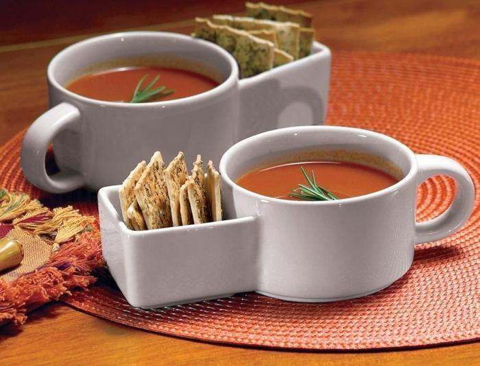 2Pc Soup And Cracker Mugs