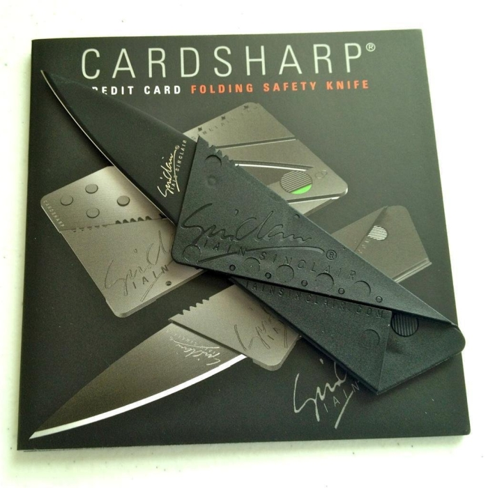 2 Credit Card Sized Folding Knife Black Blade