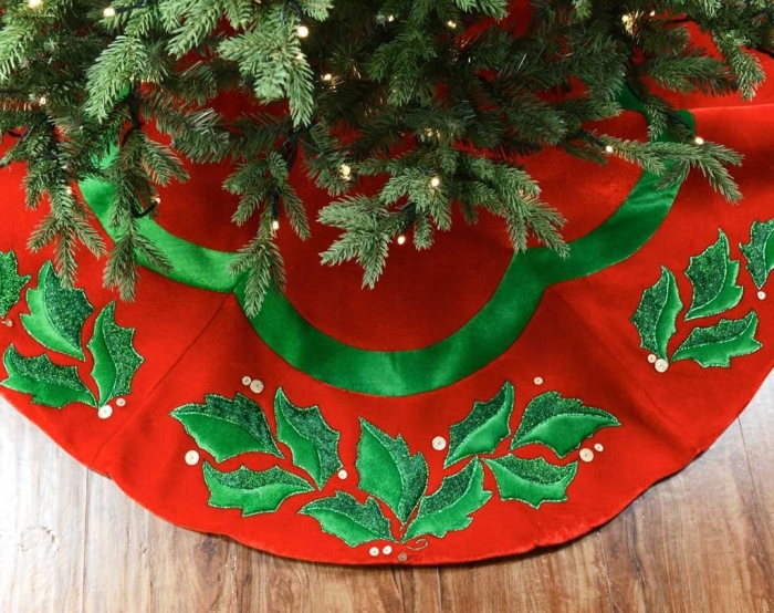 """48"""" Velvet Christmas Tree Skirt with Holly"""
