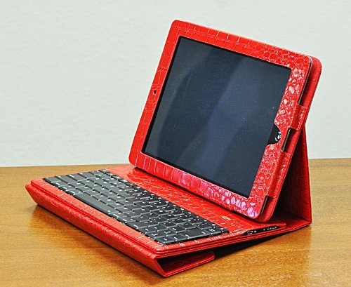 Crocodile Alligator Design Removable Bluetooth Keyboard Case and Stand For iPad 2 3 and 4th Gen