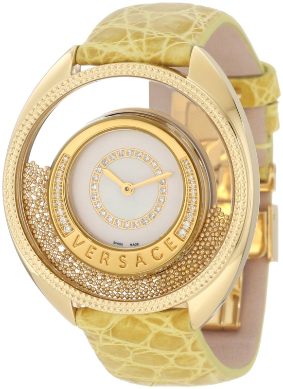 Versace Women's 86Q71SD498 S585 Destiny Spirit Yellow-Gold Plated Mother-Of-Pearl Diamond Crocodile Watch