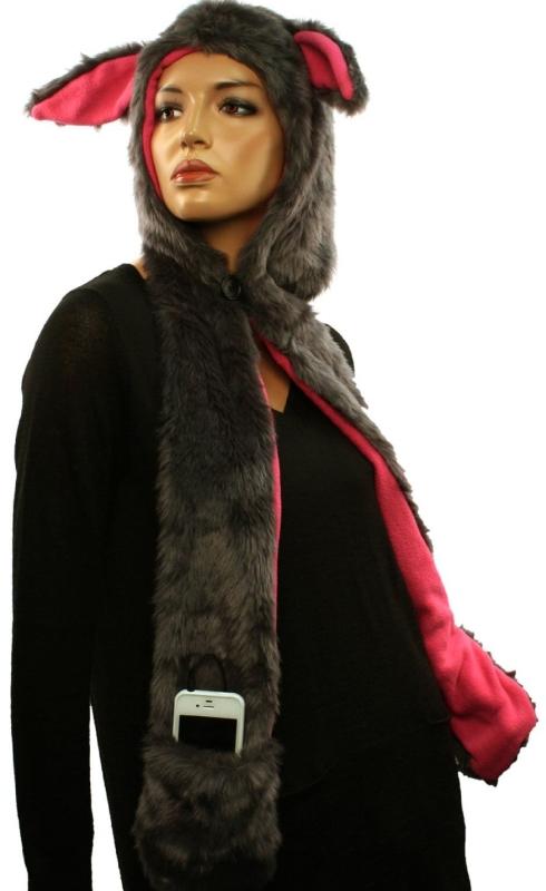 Headphones Speakers Winter Faux Animal Fur Trapper Pocket Ski Hat
