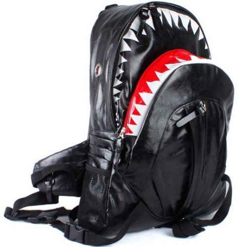 Deluxe Fashion Shark Backpack Black