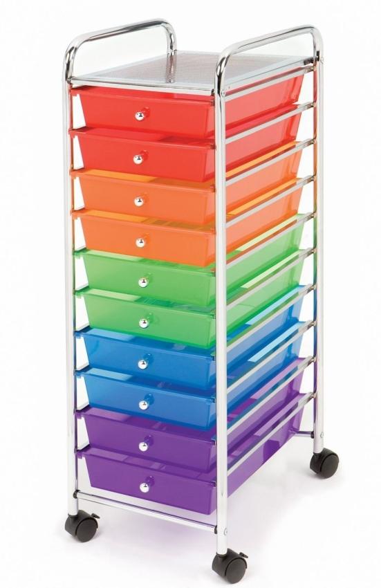 Seville 10 Drawer Multi Color Cart
