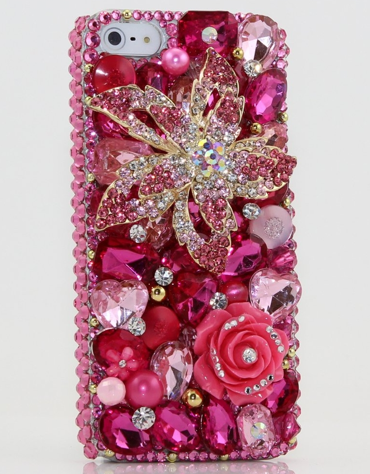 iphone 5 Luxury 3D Swarovski Diamond Pink Flower Crystal Bling Case Cover