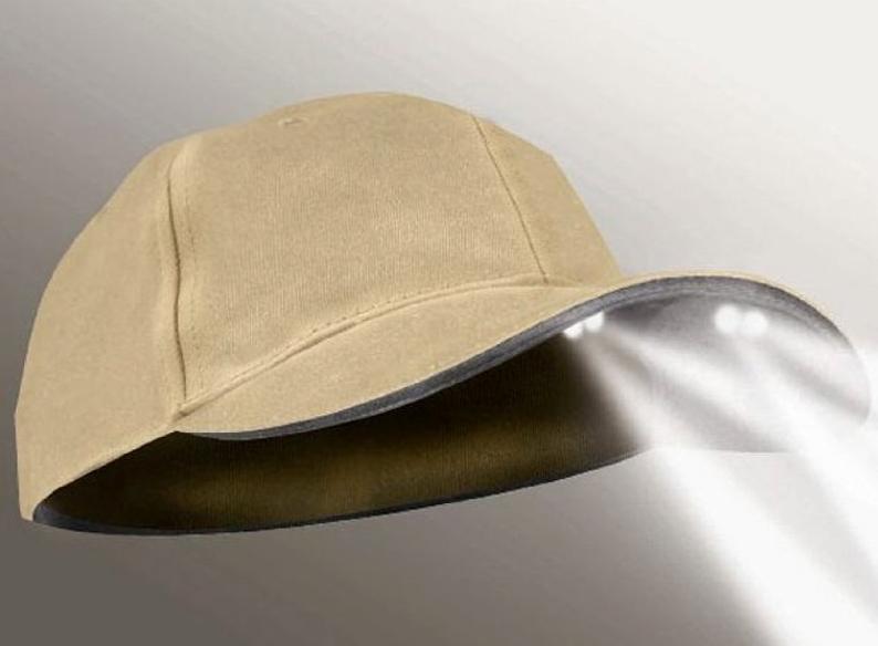4-LED Khaki Tan Structured Flashlight Hat