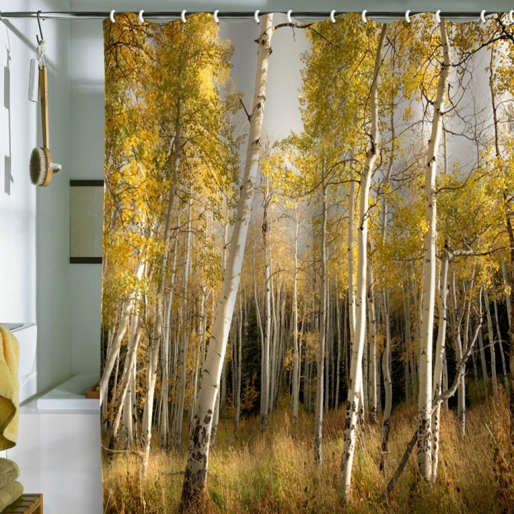 Bird Wanna Whistle Golden Aspen Shower Curtain