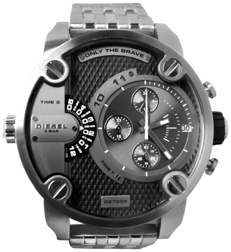Diesel SBA Dual Time Zone Stainless Steel Men's Watch