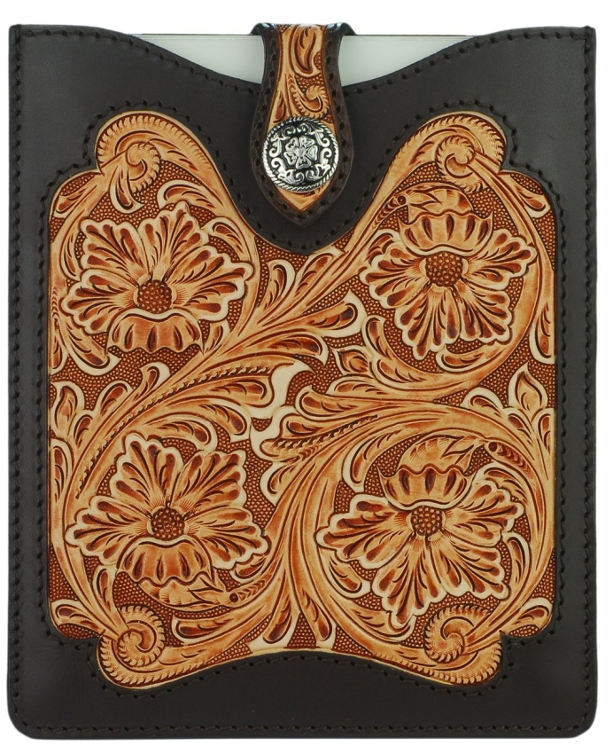 Hand Tooled Espresso Brown & Tan Leather iPad Sleeve Case