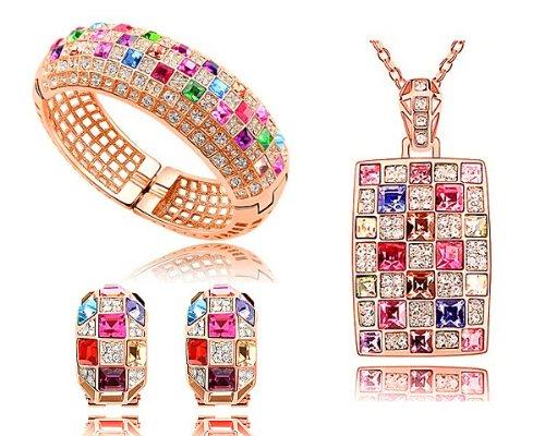 Luxury Fashion Multicolored Swarovski Elements Crystal Set