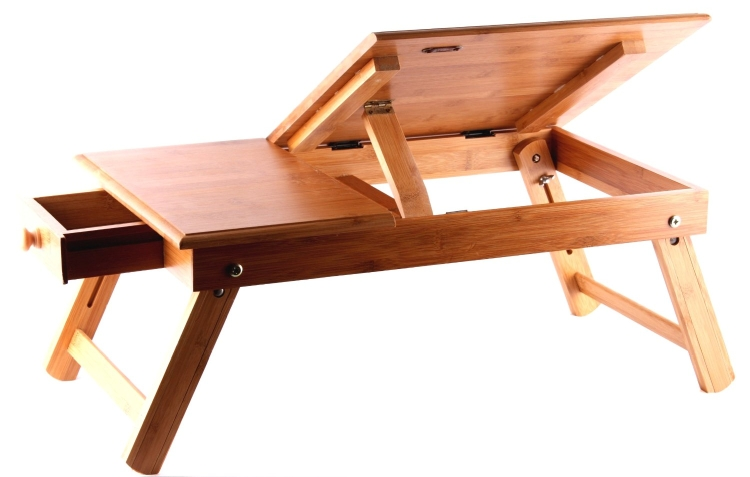 Pure Bamboo Foldable Laptop Computer Desk & Serving Bed Tray
