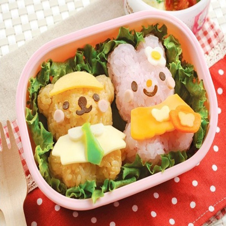 Rabbit and Bear Shape Sushi Rice Ball Onigiri Mold Set