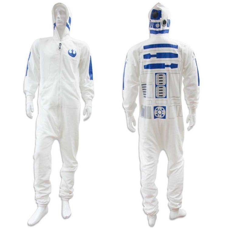 Star Wars White Adult Mens R2D2 Onesie