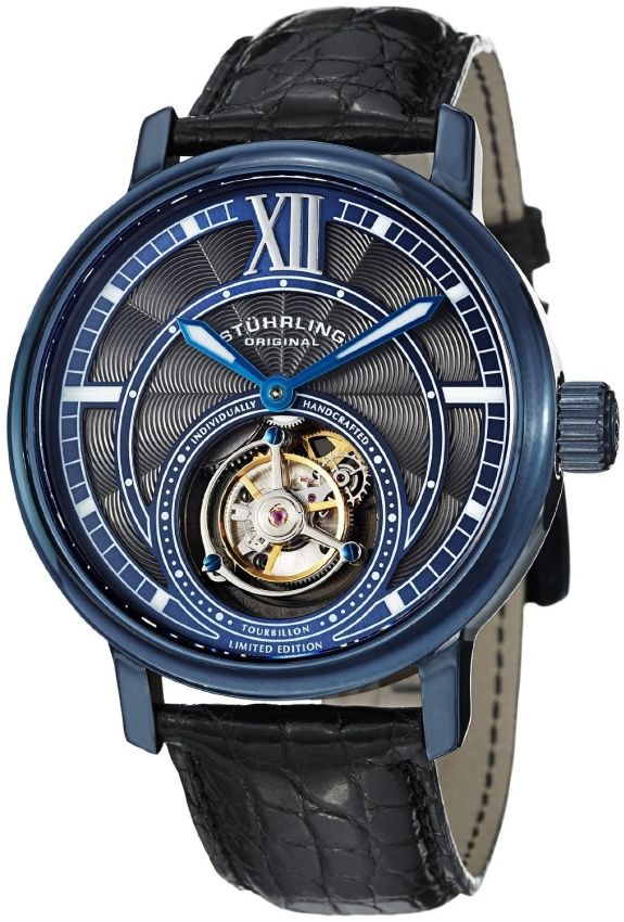 Stuhrling Tourbillon Limited Edition Imperium Mechanical Blue Watch