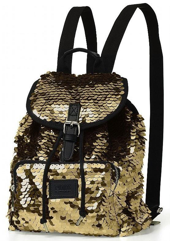 Victoria's Secret Sequins Bling Gold MINI Backpack Bag