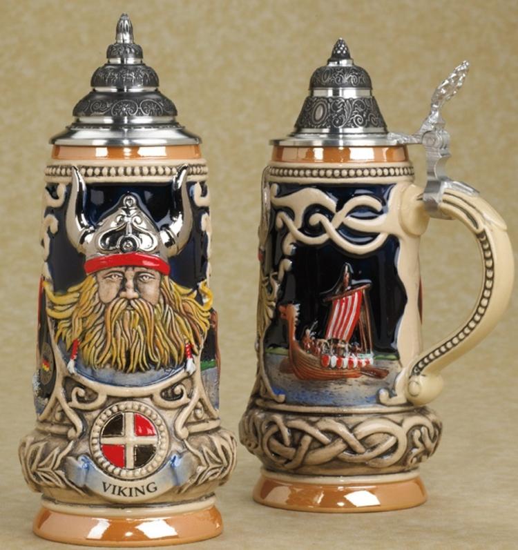 Viking German Handpainted Beerstein