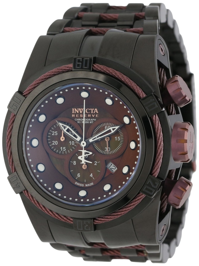 nvicta Mens 12733 Bolt Reserve Chronograph Brown Mother-Of-Pearl Dial Black Ion-Plated Stainless Steel Watch